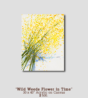 Original Painting Wild Weeds Flower in Time